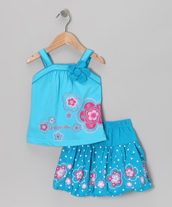 Turquoise 'Princess' Tank & Skirt - Toddler & Girls