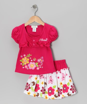 Fuchsia 'Princess' Top & Bubble Skirt - Toddler & Girls