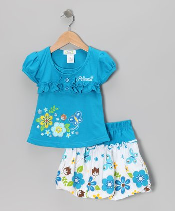 Turquoise 'Princess' Top & Bubble Skirt - Toddler & Girls