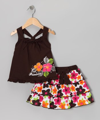 Brown 'Princess' Tank & Ruffle Skirt - Infant, Toddler & Girls