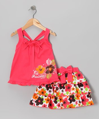 Coral 'Princess' Tank & Ruffle Skirt - Infant, Toddler & Girls