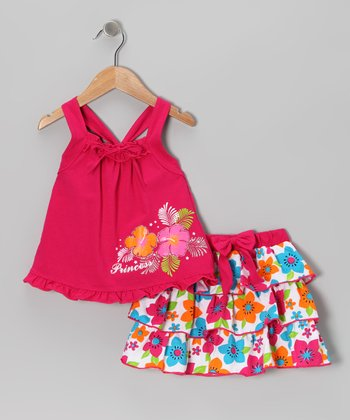 Fuchsia 'Princess' Tank & Ruffle Skirt - Infant, Toddler & Girls