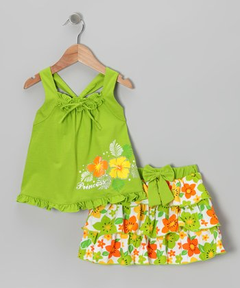 Lime 'Princess' Tank & Ruffle Skirt - Infant, Toddler & Girls