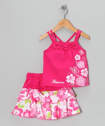 Fuchsia Flower Tank & Skirt - Infant, Toddler & Girls