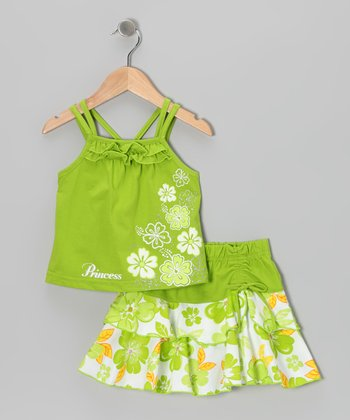 Lime Flower Tank & Skirt - Infant, Toddler & Girls