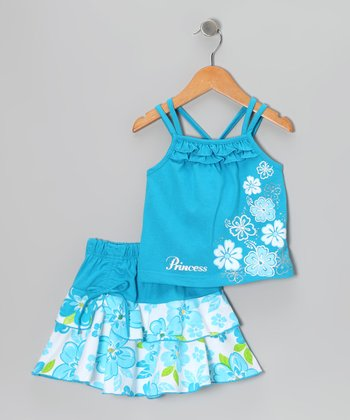 Turquoise Flower Tank & Skirt - Infant, Toddler & Girls