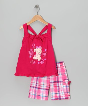 Fuchsia Puppy Tunic & Plaid Shorts - Infant, Toddler & Girls