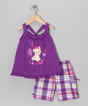 Purple Puppy Tunic & Plaid Shorts - Infant, Toddler & Girls