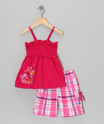 Fuchsia Shirred Top & Plaid Shorts - Infant, Toddler & Girls