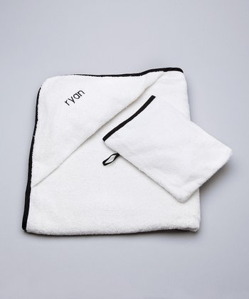 White & Black Personalized Hooded Towel & Hand Mitt