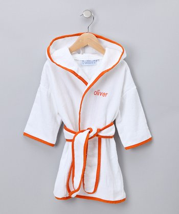 White & Orange Personalized Robe - Kids