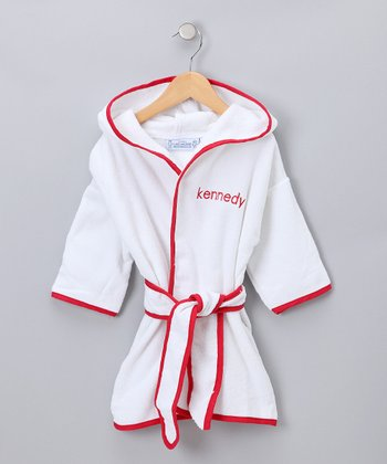 White & Red Personalized Robe - Toddler