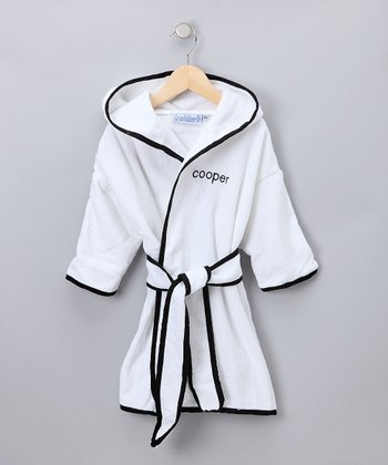 White & Black Personalized Robe - Kids