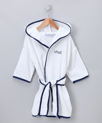 White & Navy Personalized Robe - Kids