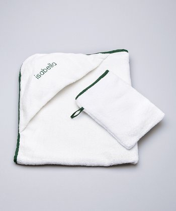 White & Dark Green Personalized Hooded Towel & Hand Mitt