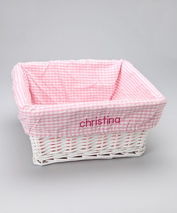 Pink & White Gingham Personalized Liner & Basket