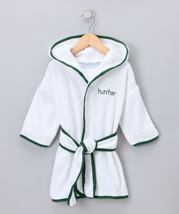 White & Dark Green Personalized Robe - Kids