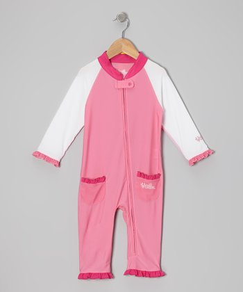 Bubble Gum & White One-Piece Rashguard - Infant & Toddler