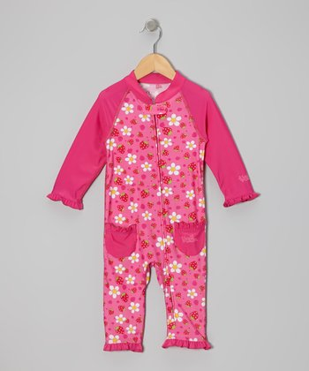 Hot Pink Strawberry One-Piece Rashguard - Infant & Toddler