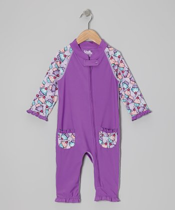 Purple Cupcake One-Piece Rashguard - Infant & Toddler