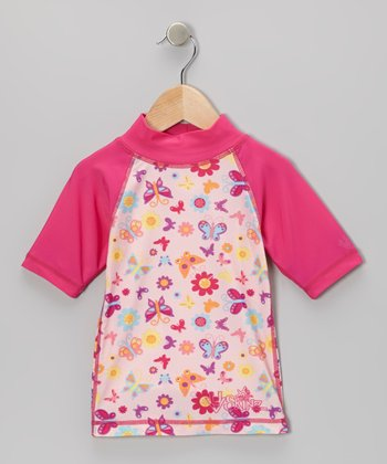 Hot Pink Butterflower Rashguard - Infant, Toddler & Girls