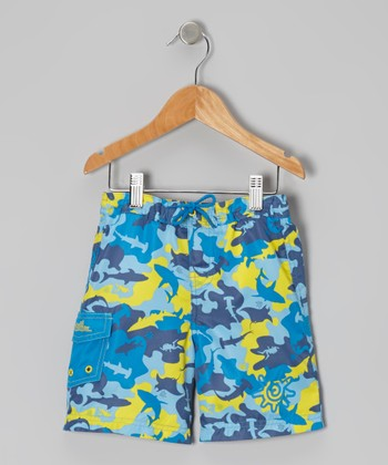Yellow & Blue Ocean Camo Boardshorts - Infant, Toddler & Boys
