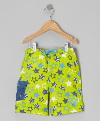 Lime & Navy Star Boardshorts - Toddler & Boys