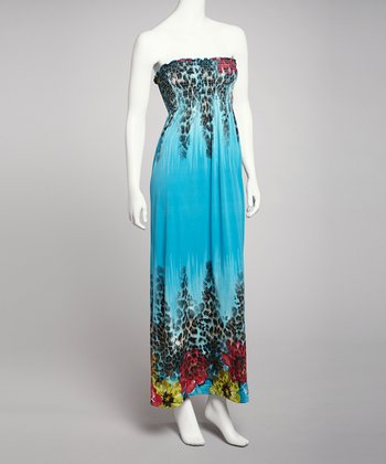 Teal Leopard Strapless Maxi Dress
