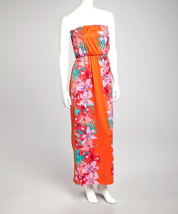 Coral Floral Strapless Maxi Dress - Women