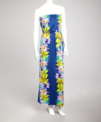 Navy Floral Strapless Maxi Dress - Women