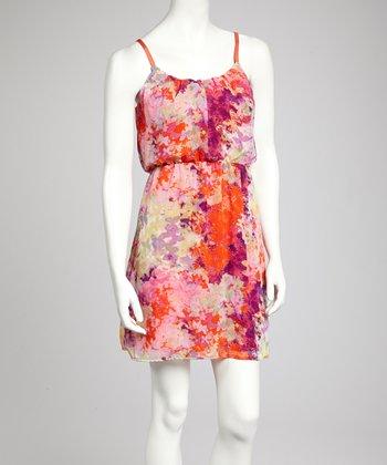 Red & Yellow Butterfly Sleeveless Dress
