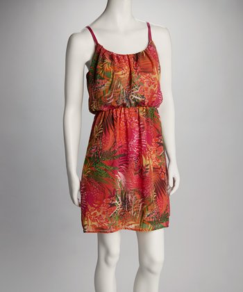 Orange & Green Jungle Sleeveless Dress - Women
