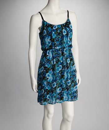 Blue & Green Floral Sleeveless Dress