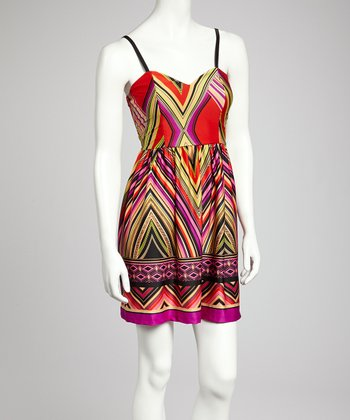 Red Chevron Dress - Women