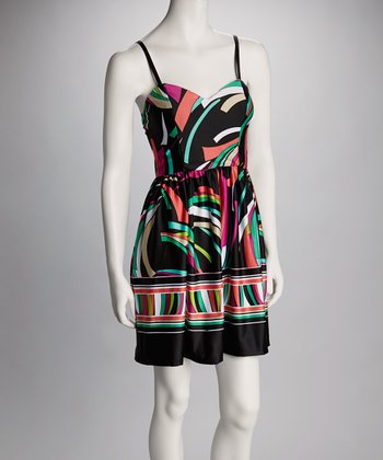 Black & Aqua Abstract Sleeveless Dress - Women
