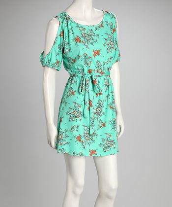 Light Green Floral Tie-Waist Cutout Dress