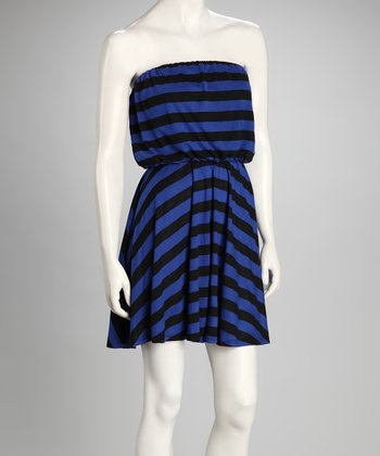Black & Royal Blue Stripe Strapless Dress