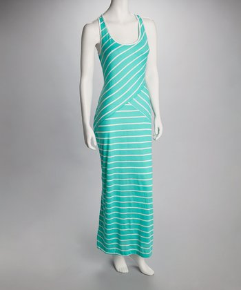 Mint & White Stripe Crisscross Maxi Dress