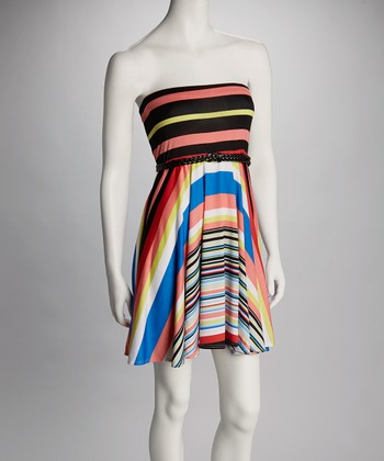 Coral & Ivory Stripe Belted Strapless Dress - Women