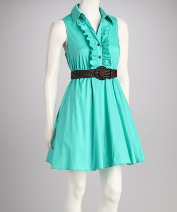Bright Jade Belted Dress