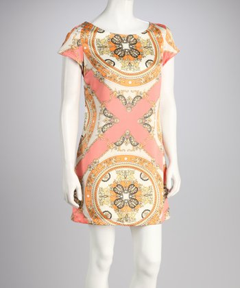 Coral Arabesque Cap-Sleeve Dress