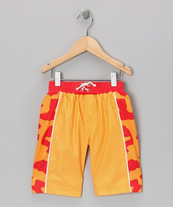 Orange Spike Swim Trunks - Toddler & Boys