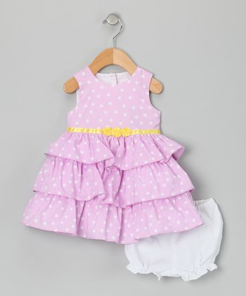 Lilac Polka Dot Ruffle Dress & Bloomers - Infant