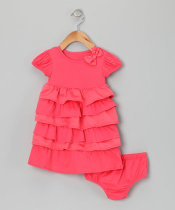 Coral Ruffle Dress & Diaper Cover - Infant