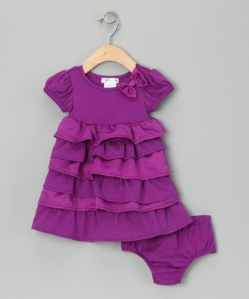 Purple Ruffle Dress & Diaper Cover - Infant