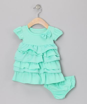 Teal Ruffle Dress & Diaper Cover - Infant
