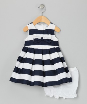 Navy & White Amelie Dress - Infant & Toddler