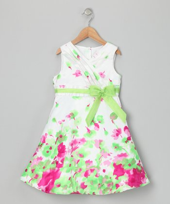 White & Green Floral Dress - Toddler & Girls
