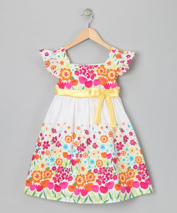 White & Yellow Betty Floral Dress - Girls