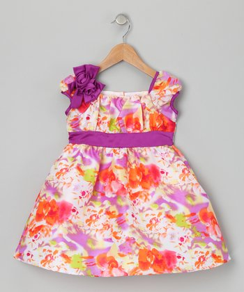 Purple Floral Cap-Sleeve Dress - Toddler & Girls